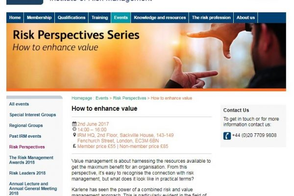 How to enhance value - The Institute of Risk Management